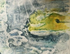 Burren Layers Encaustic Monotype on Chinese Paper set in a mount board frame 36cms x 30cms 250.00 Euro